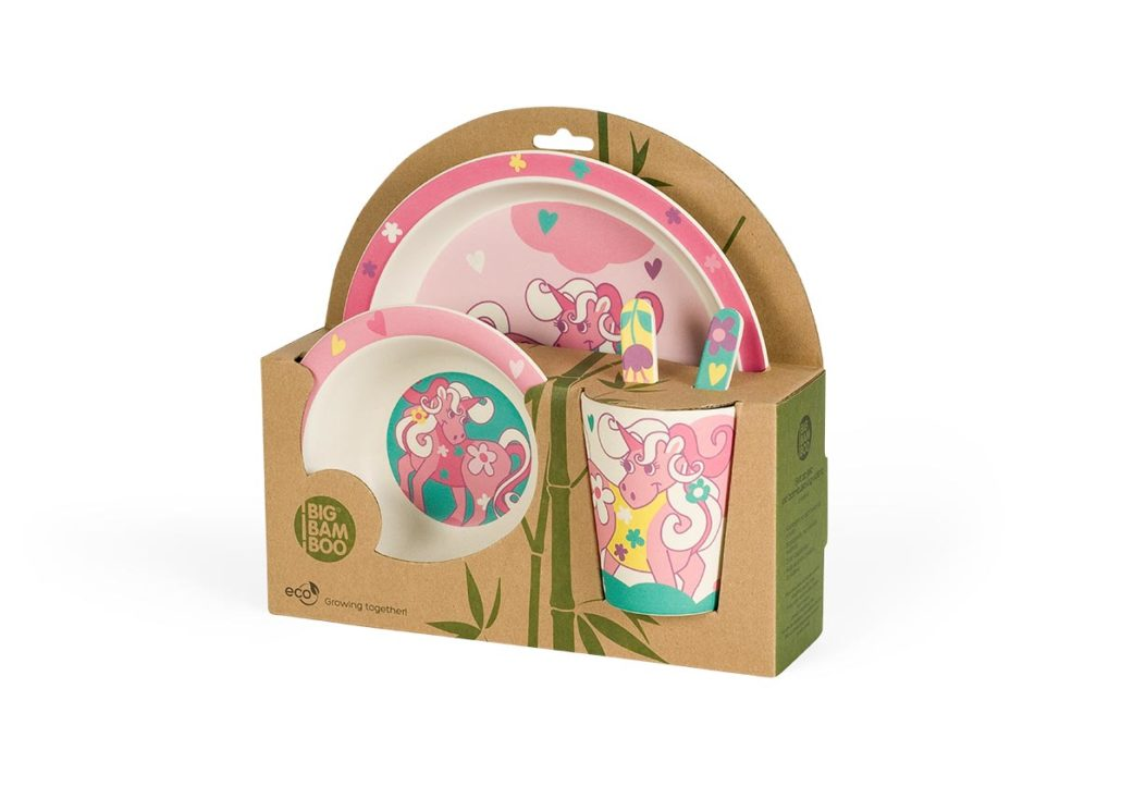 Bamboo Eco 5 piece Baby Set Unicorn design in pastel Plate Bowl Cup Spoon /& Fork