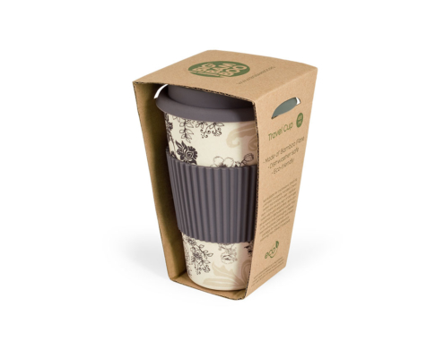 BBB304-1 BigBamBoo - Black & Grey To Go Bamboo Cup 400 ml box