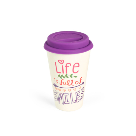 BBB304-2 BigBamBoo - Black & Life & Smiles To Go Bamboo Cup 400 ml 01